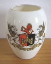 "zz Goss crested china antique / vintage vase (model of urn found near Walden Abbey) with ""City of Exeter"" coat of arms (SOLD)"